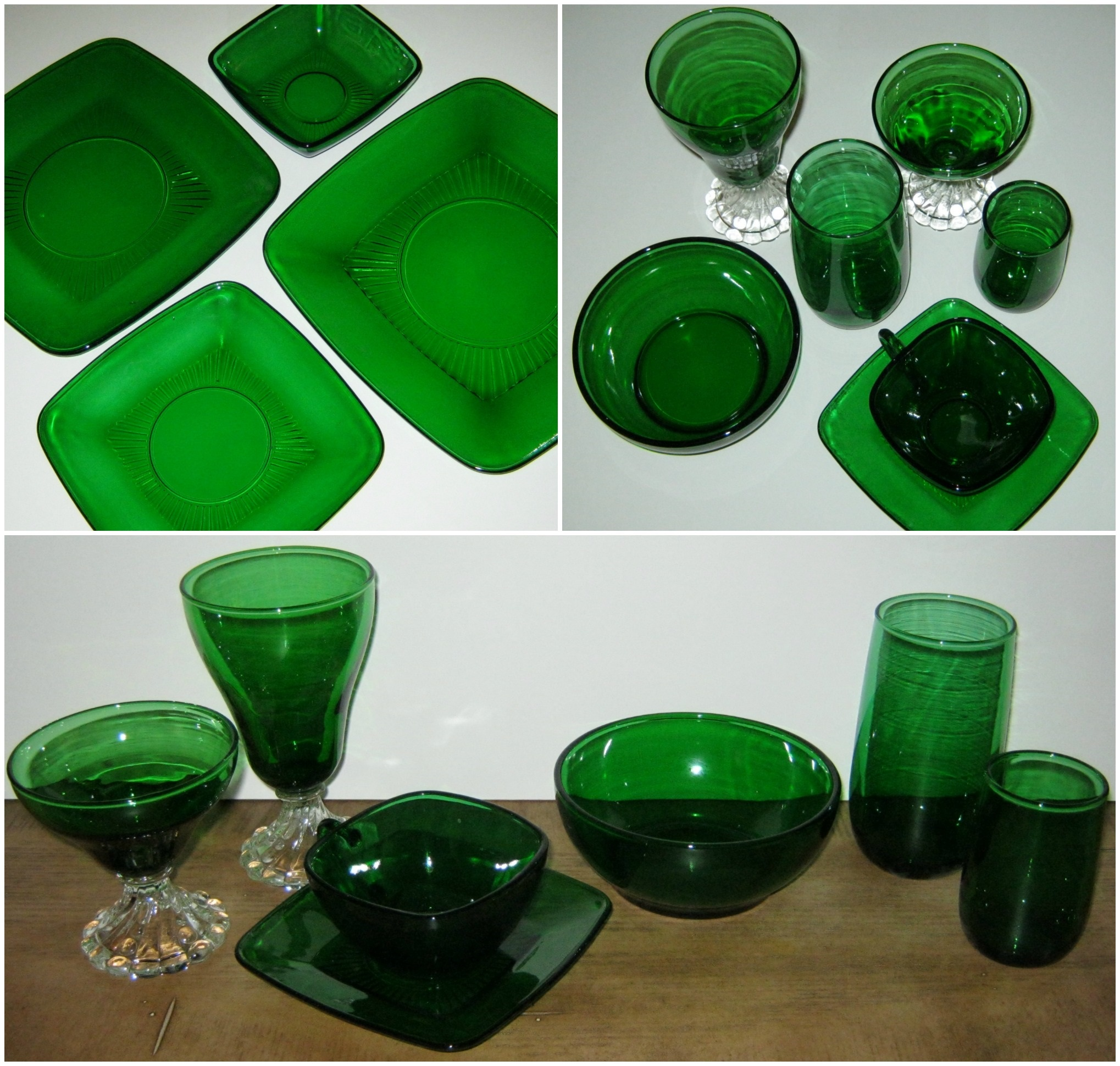 Anchor Hocking Glassware Forest Green Anchor Hocking Vintage Forest