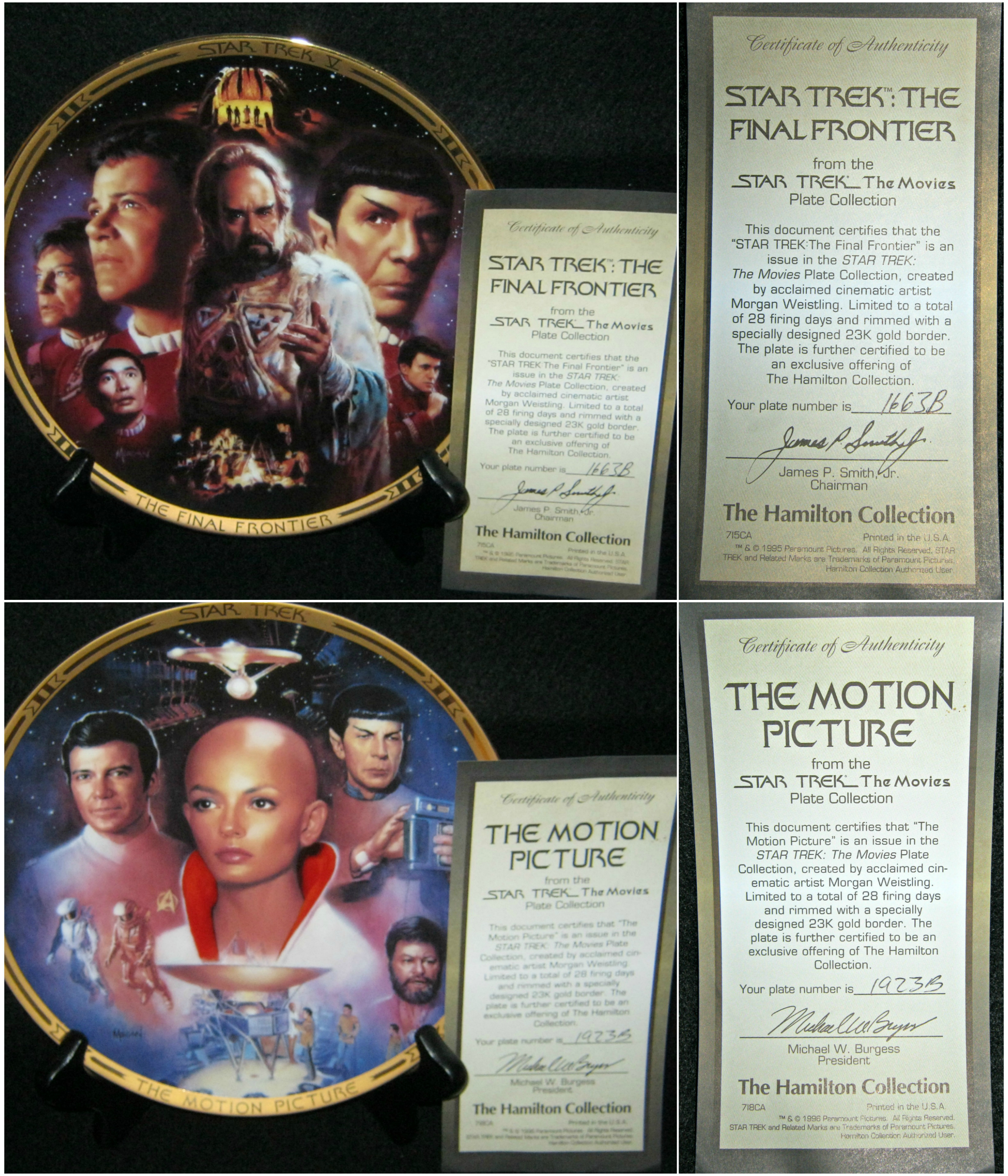 6 star trek the movies collectible plates sold for 50